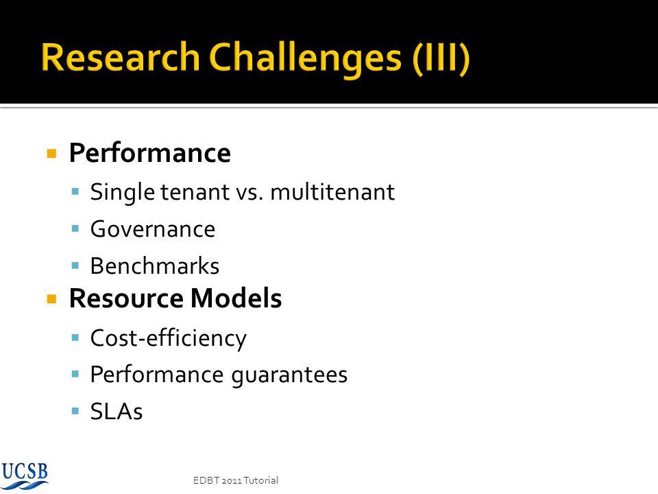 EDBT 2011 Tutorial Performance Single tenant vs. multitenant Governance Benchmarks Resource Models Cost-efficiency Performance guarantees SLAs