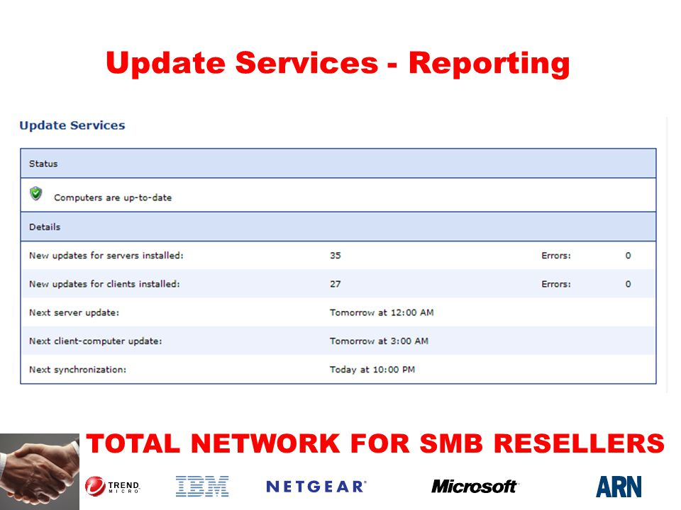 TOTAL NETWORK FOR SMB RESELLERS Update Services - Reporting