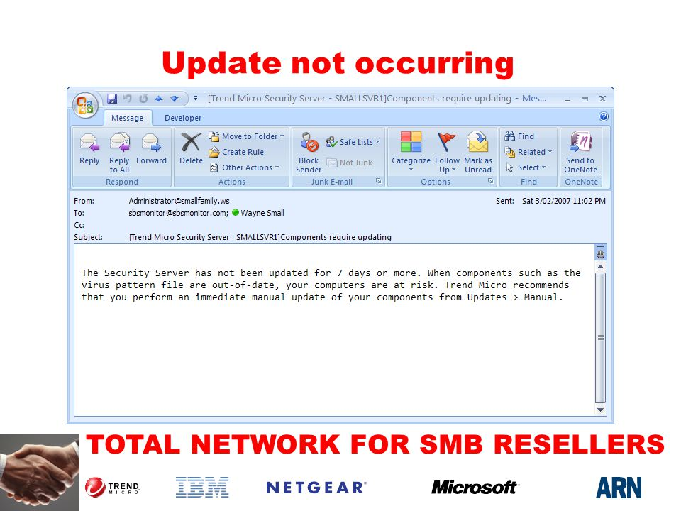 TOTAL NETWORK FOR SMB RESELLERS Update not occurring