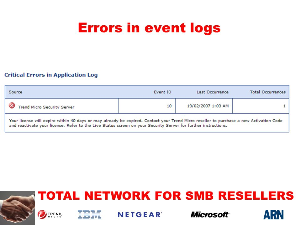 TOTAL NETWORK FOR SMB RESELLERS Errors in event logs