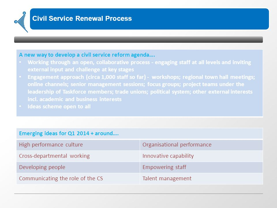 Civil Service Renewal Process A new way to develop a civil service reform agenda…. Working through an open, collaborative process - engaging staff at