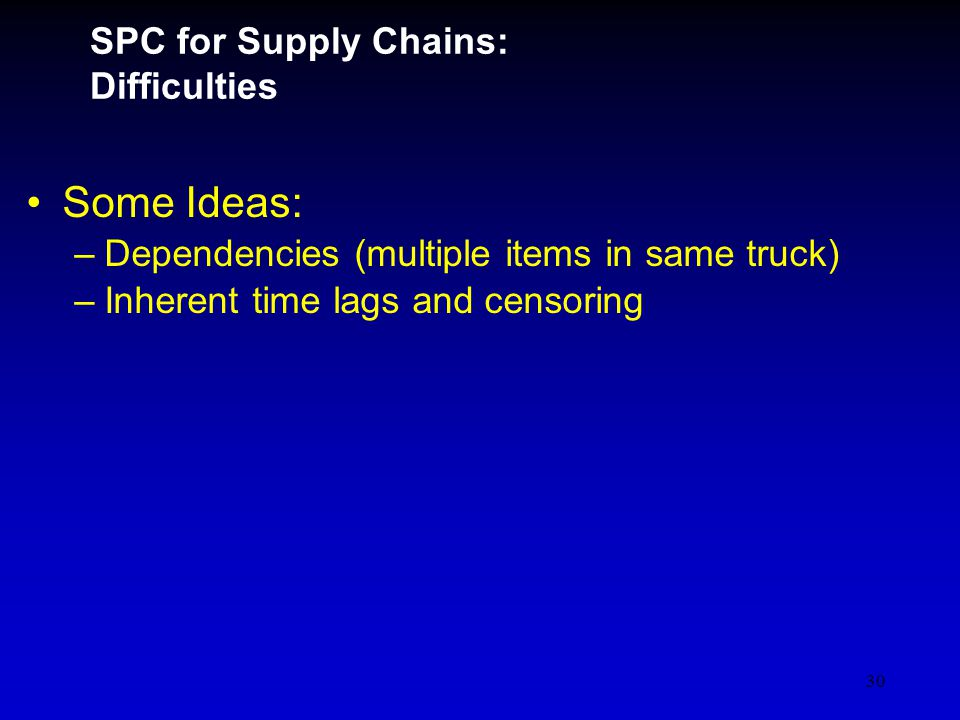 30 SPC for Supply Chains: Difficulties Some Ideas: –Dependencies (multiple items in same truck) –Inherent time lags and censoring