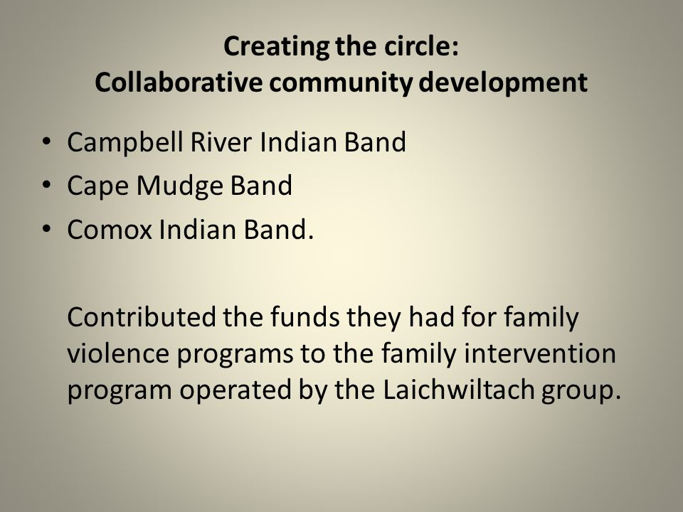 Creating the circle: Collaborative community development Campbell River Indian Band Cape Mudge Band Comox Indian Band.