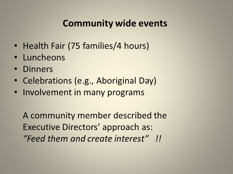 Community wide events Health Fair (75 families/4 hours) Luncheons Dinners Celebrations (e.g., Aboriginal Day) Involvement in many programs A community member described the Executive Directors approach as: Feed them and create interest !!