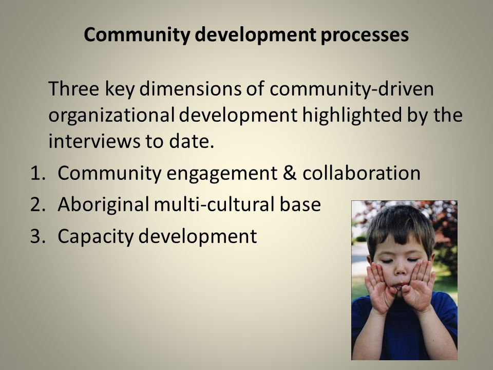 Community development processes Three key dimensions of community-driven organizational development highlighted by the interviews to date.