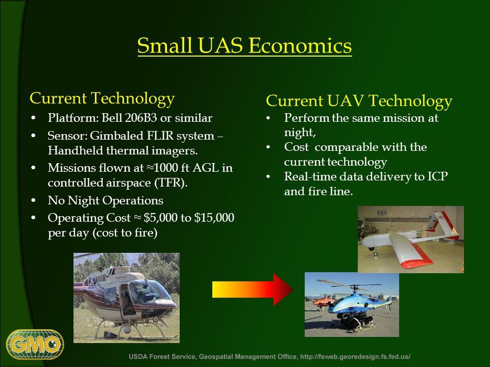 Small UAS Economics Current Technology Platform: Bell 206B3 or similar Sensor: Gimbaled FLIR system – Handheld thermal imagers.
