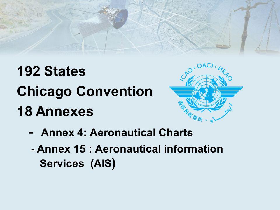 192 States Chicago Convention 18 Annexes - Annex 4: Aeronautical Charts - Annex 15 : Aeronautical information Services (AIS )