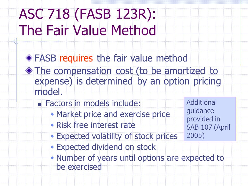 ASC 718 (FASB 123R): The Fair Value Method FASB requires the fair value method The compensation cost (to be amortized to expense) is determined by an