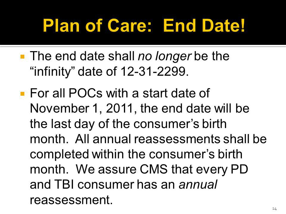 The end date shall no longer be the infinity date of 12-31-2299.