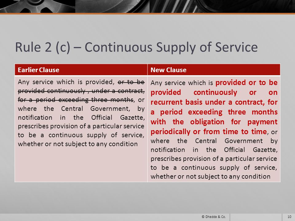Rule 2 (c) – Continuous Supply of Service Earlier ClauseNew Clause Any service which is provided, or to be provided continuously, under a contract, for a period exceeding three months, or where the Central Government, by notification in the Official Gazette, prescribes provision of a particular service to be a continuous supply of service, whether or not subject to any condition Any service which is provided or to be provided continuously or on recurrent basis under a contract, for a period exceeding three months with the obligation for payment periodically or from time to time, or where the Central Government by notification in the Official Gazette, prescribes provision of a particular service to be a continuous supply of service, whether or not subject to any condition 10© Dhadda & Co.
