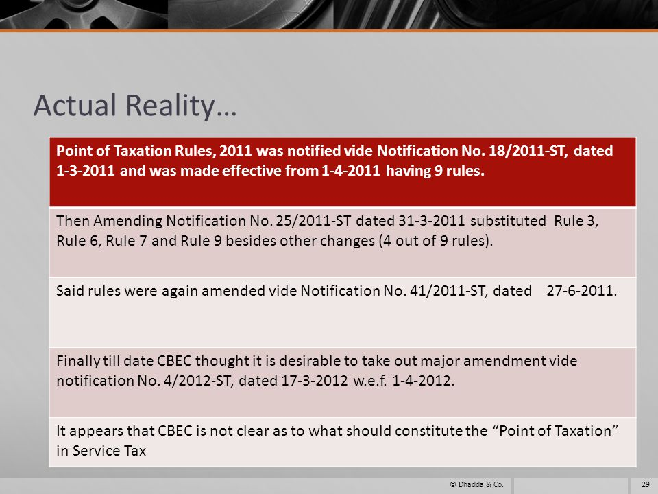 Actual Reality… 29© Dhadda & Co. Point of Taxation Rules, 2011 was notified vide Notification No.