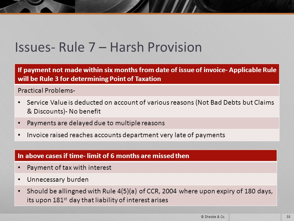 Issues- Rule 7 – Harsh Provision If payment not made within six months from date of issue of invoice- Applicable Rule will be Rule 3 for determining Point of Taxation Practical Problems- Service Value is deducted on account of various reasons (Not Bad Debts but Claims & Discounts)- No benefit Payments are delayed due to multiple reasons Invoice raised reaches accounts department very late of payments 33© Dhadda & Co.