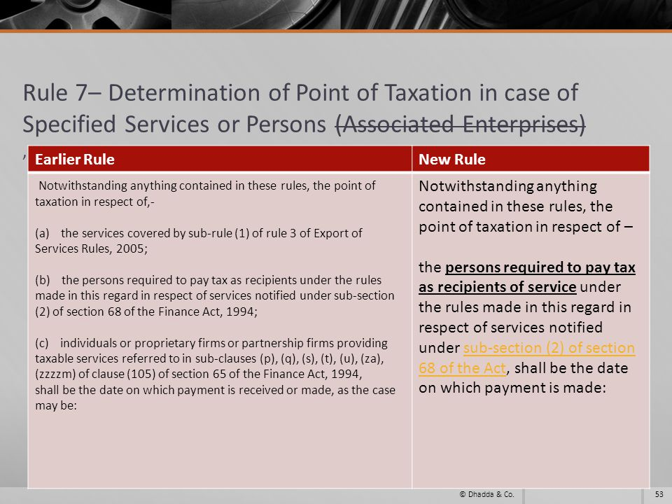 Rule 7– Determination of Point of Taxation in case of Specified Services or Persons (Associated Enterprises), 53© Dhadda & Co. Earlier RuleNew Rule No