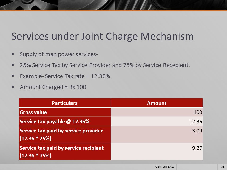 Services under Joint Charge Mechanism Supply of man power services- 25% Service Tax by Service Provider and 75% by Service Recepient. Example- Service