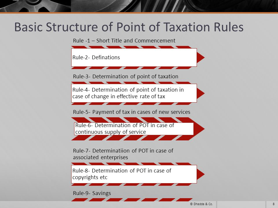 Other Amendments related to Point of Taxation Rules 2011 The benefit available to individuals and firms to determine POT on the basis of date of payment for eight specified services is being extended to all services in a slightly modified form.