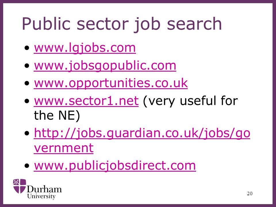 Public sector job search www.lgjobs.com www.jobsgopublic.com www.opportunities.co.uk www.sector1.net (very useful for the NE)www.sector1.net http://jobs.guardian.co.uk/jobs/go vernmenthttp://jobs.guardian.co.uk/jobs/go vernment www.publicjobsdirect.com 20