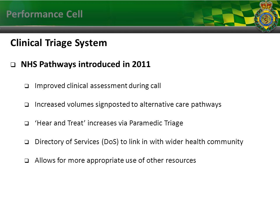 Performance Cell Clinical Triage System NHS Pathways introduced in 2011 Improved clinical assessment during call Increased volumes signposted to alternative care pathways Hear and Treat increases via Paramedic Triage Directory of Services (DoS) to link in with wider health community Allows for more appropriate use of other resources