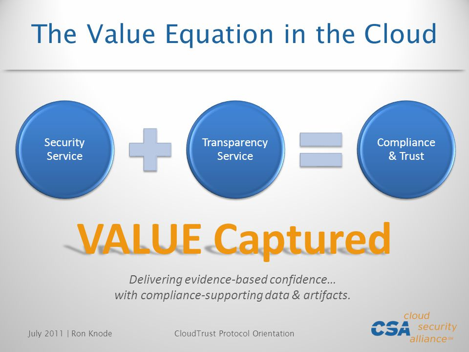 The Value Equation in the Cloud Security Service Transparency Service Compliance & Trust July 2011 | Ron KnodeCloudTrust Protocol Orientation VALUE Captured Delivering evidence-based confidence… with compliance-supporting data & artifacts.