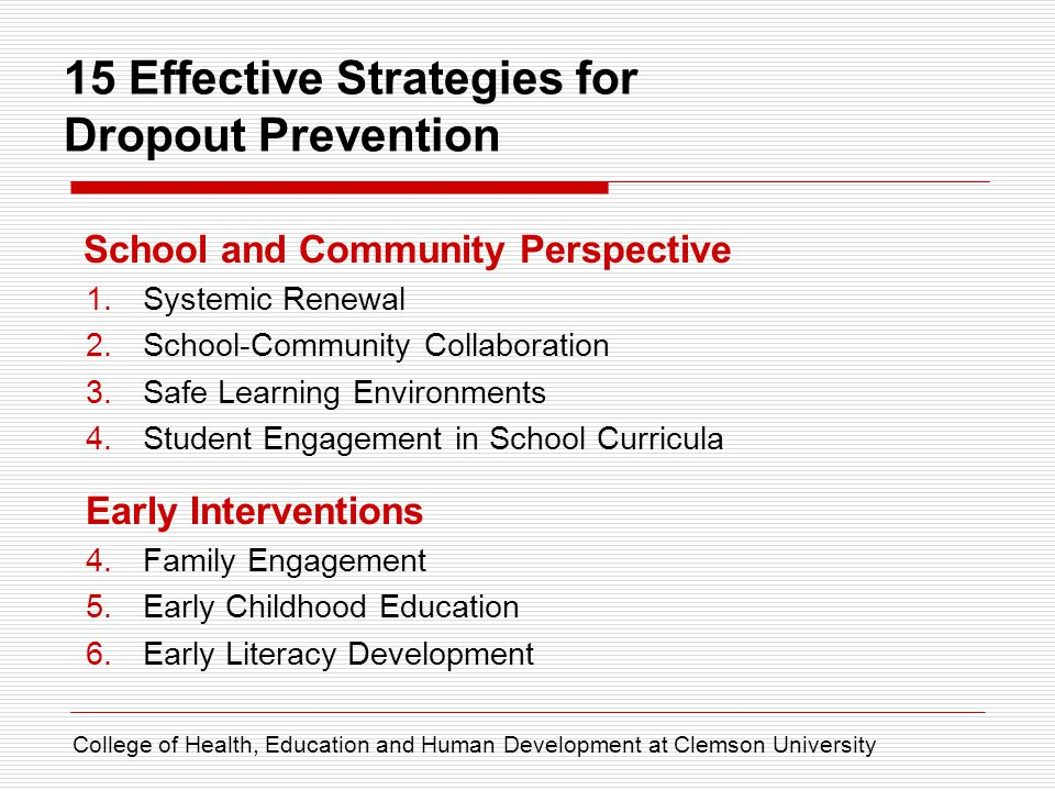 15 Effective Strategies for Dropout Prevention Basic Core Strategies 7.Mentoring/Tutoring 8.Service-Learning* 9.Alternative Schooling 10.After-School Opportunities Making the Most of Instruction 11.Professional Development 12.Active Learning 13.Educational Technology 14.Individualized Instruction 15.Career and Technical Education College of Health, Education and Human Development at Clemson University