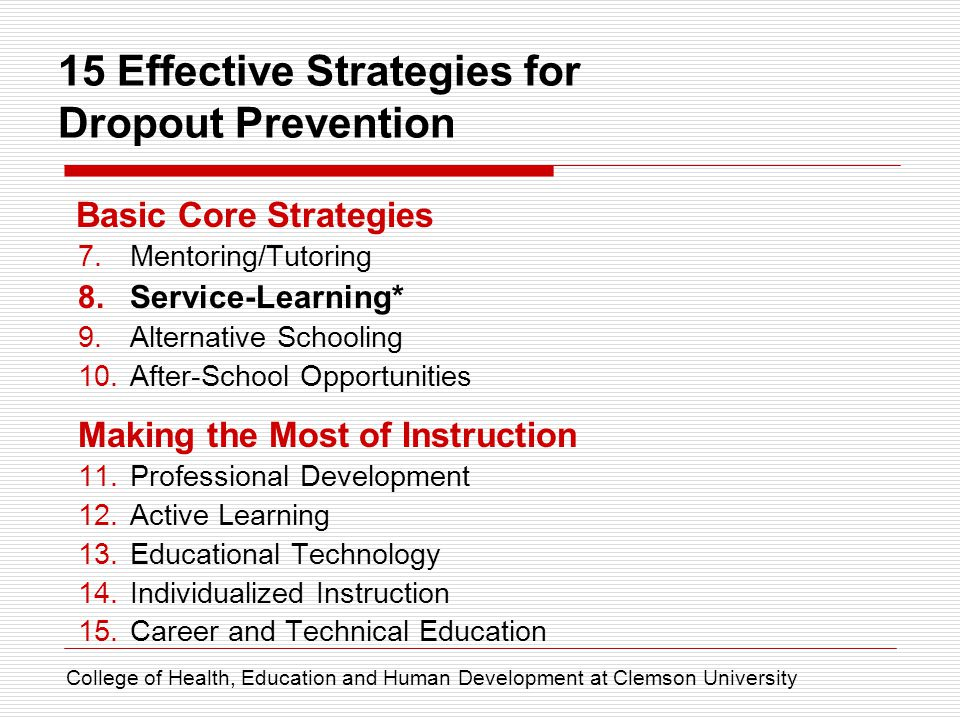 15 Effective Strategies for Dropout Prevention Basic Core Strategies 7.Mentoring/Tutoring 8.Service-Learning* 9.Alternative Schooling 10.After-School