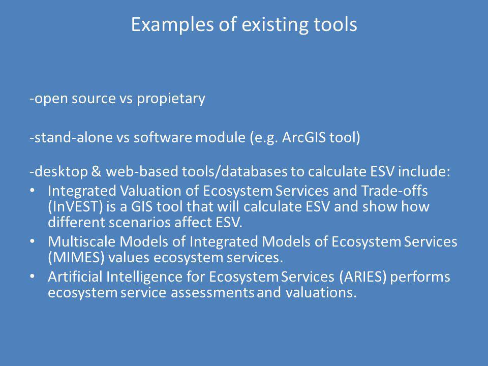 Examples of existing tools -open source vs propietary -stand-alone vs software module (e.g. ArcGIS tool) -desktop & web-based tools/databases to calcu