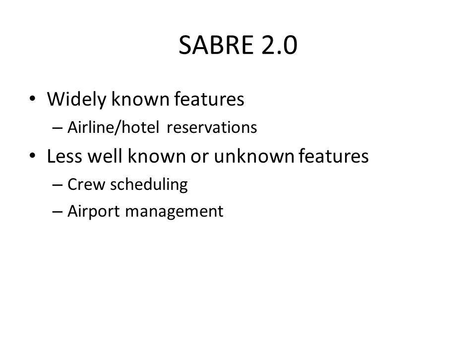SABRE 1.0 SABRE – Semi-Automatic Business-Related Environment Developed by IBM for American Airlines – First prototype 1960 – In use today as Sabre Ho