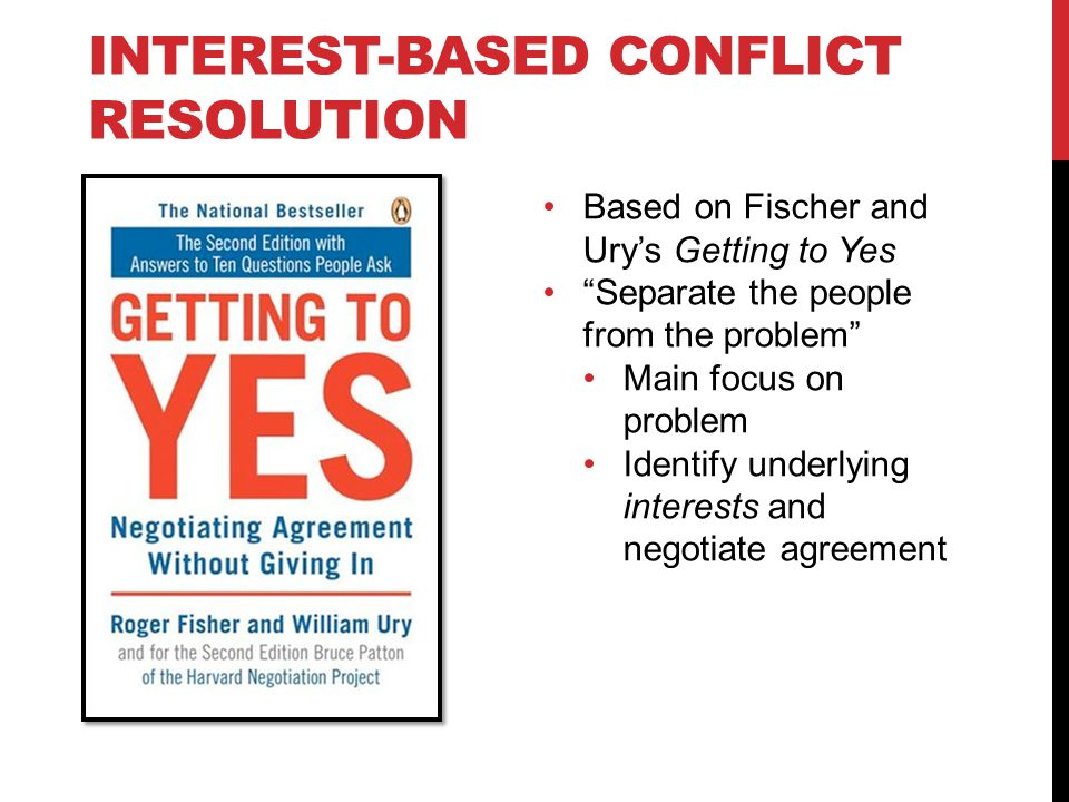 INTEREST-BASED CONFLICT RESOLUTION Based on Fischer and Urys Getting to Yes Separate the people from the problem Main focus on problem Identify underl
