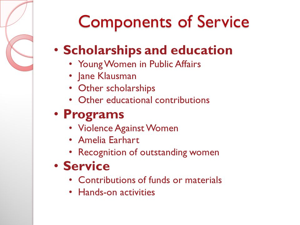 Components of Service Scholarships and education Young Women in Public Affairs Jane Klausman Other scholarships Other educational contributions Programs Violence Against Women Amelia Earhart Recognition of outstanding women Service Contributions of funds or materials Hands-on activities