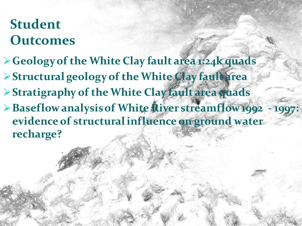 OSSPEEC Geological Engineering / Geology projects near Pine Ridge, South Dakota Geology of the White Clay fault area 1:24k quads Structural geology of the White Clay fault area Stratigraphy of the White Clay fault area quads Baseflow analysis of White River streamflow 1992 - 1997: evidence of structural influence on ground water recharge.