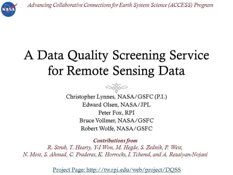 Outline Why a Data Quality Screening Service.