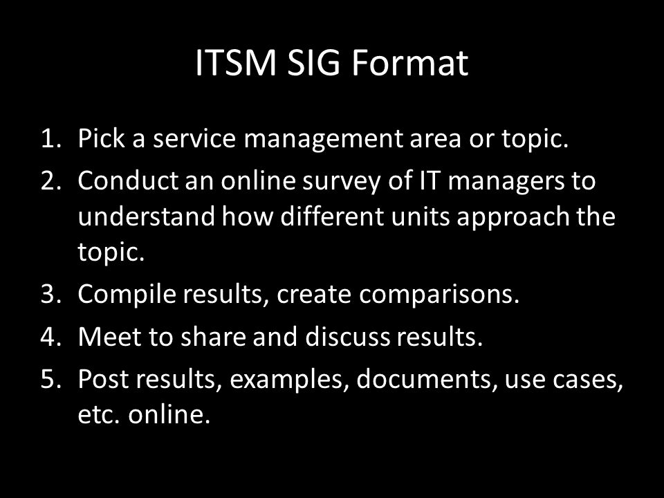 ITSM SIG Format 1.Pick a service management area or topic.