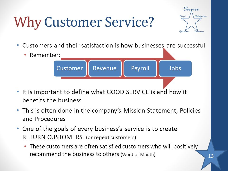 13 Why Customer Service? Customers and their satisfaction is how businesses are successful Remember: It is important to define what GOOD SERVICE is an