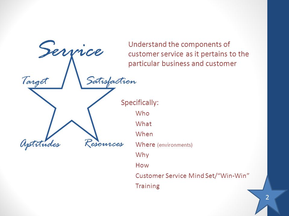 2 Understand the components of customer service as it pertains to the particular business and customer Specifically: Who What When Where (environments