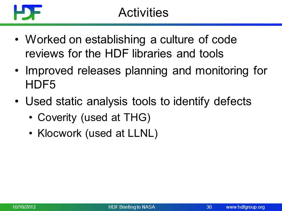 www.hdfgroup.org Activities Worked on establishing a culture of code reviews for the HDF libraries and tools Improved releases planning and monitoring