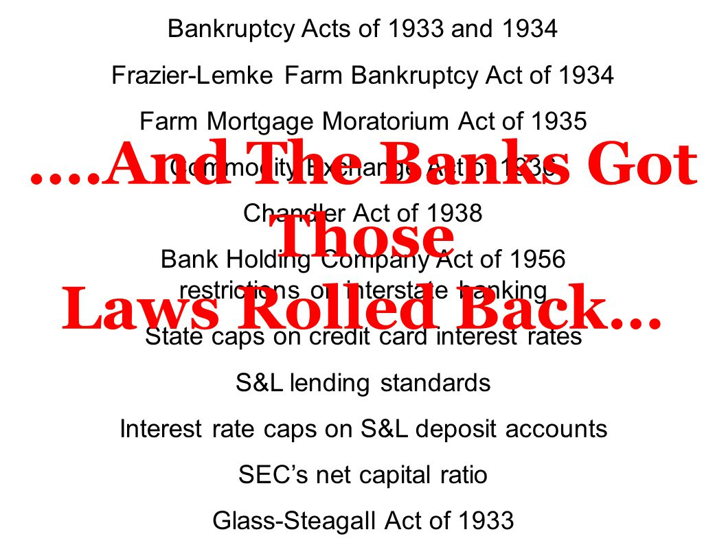 Bankruptcy Acts of 1933 and 1934 Frazier-Lemke Farm Bankruptcy Act of 1934 Farm Mortgage Moratorium Act of 1935 Commodity Exchange Act of 1936 Chandle
