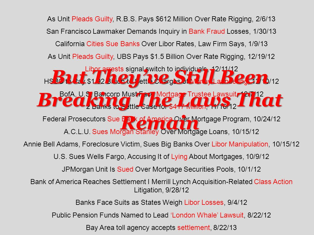 As Unit Pleads Guilty, R.B.S. Pays $612 Million Over Rate Rigging, 2/6/13 San Francisco Lawmaker Demands Inquiry in Bank Fraud Losses, 1/30/13 Califor