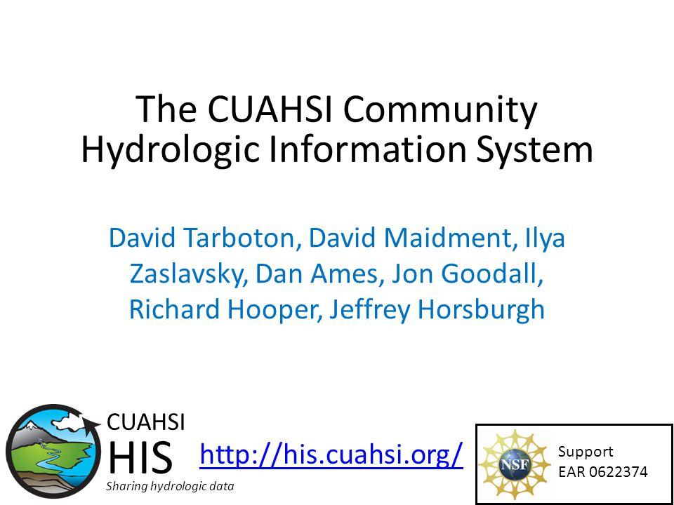 The CUAHSI Community Hydrologic Information System David Tarboton, David Maidment, Ilya Zaslavsky, Dan Ames, Jon Goodall, Richard Hooper, Jeffrey Horsburgh Support EAR 0622374 CUAHSI HIS Sharing hydrologic data http://his.cuahsi.org/