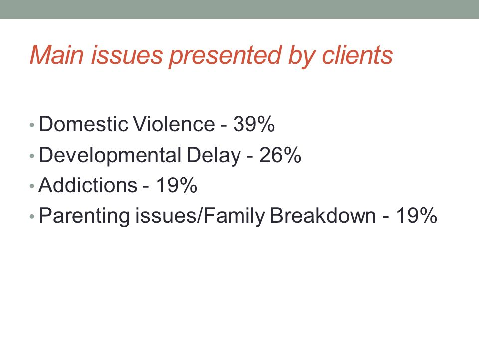 Main Programs Individual/Family Counselling - 95% Partner Assault Response (PAR) - 78% Credit Counselling - 43% Developmental Services - 35%