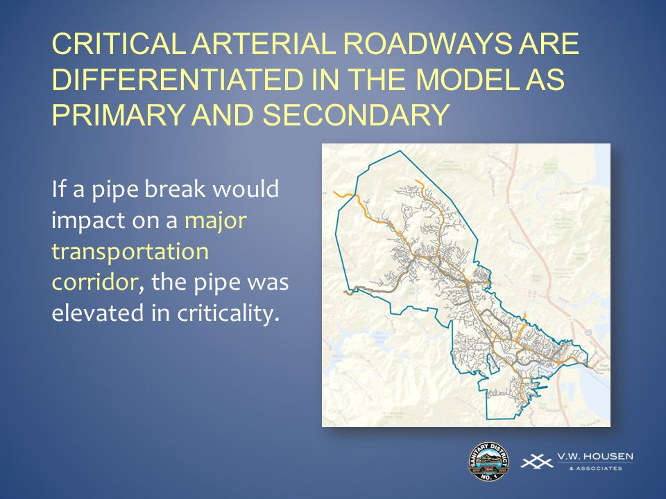 CRITICAL ARTERIAL ROADWAYS ARE DIFFERENTIATED IN THE MODEL AS PRIMARY AND SECONDARY If a pipe break would impact on a major transportation corridor, the pipe was elevated in criticality.