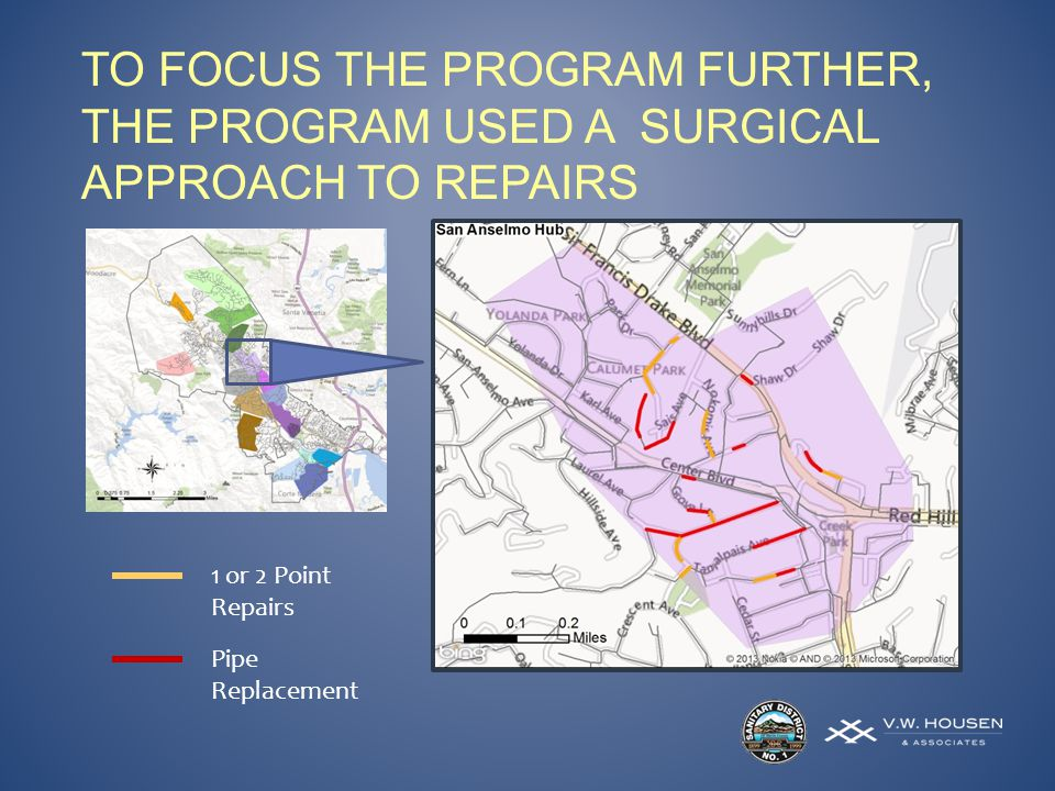 TO FOCUS THE PROGRAM FURTHER, THE PROGRAM USED A SURGICAL APPROACH TO REPAIRS 1 or 2 Point Repairs Pipe Replacement