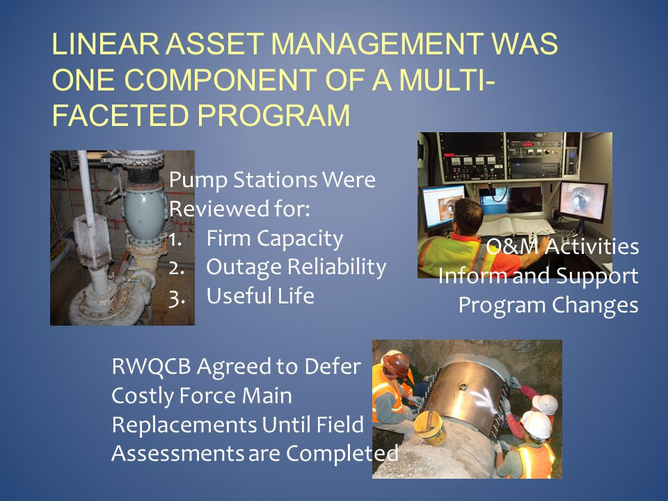 LINEAR ASSET MANAGEMENT WAS ONE COMPONENT OF A MULTI- FACETED PROGRAM Pump Stations Were Reviewed for: 1.Firm Capacity 2.Outage Reliability 3.Useful Life RWQCB Agreed to Defer Costly Force Main Replacements Until Field Assessments are Completed O&M Activities Inform and Support Program Changes
