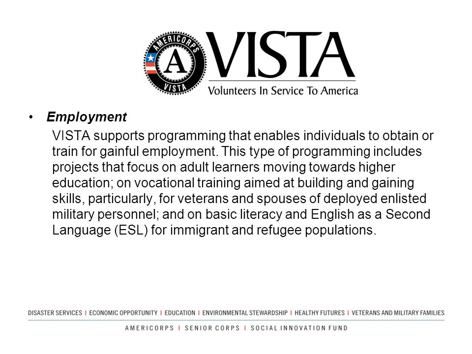 Employment VISTA supports programming that enables individuals to obtain or train for gainful employment. This type of programming includes projects t