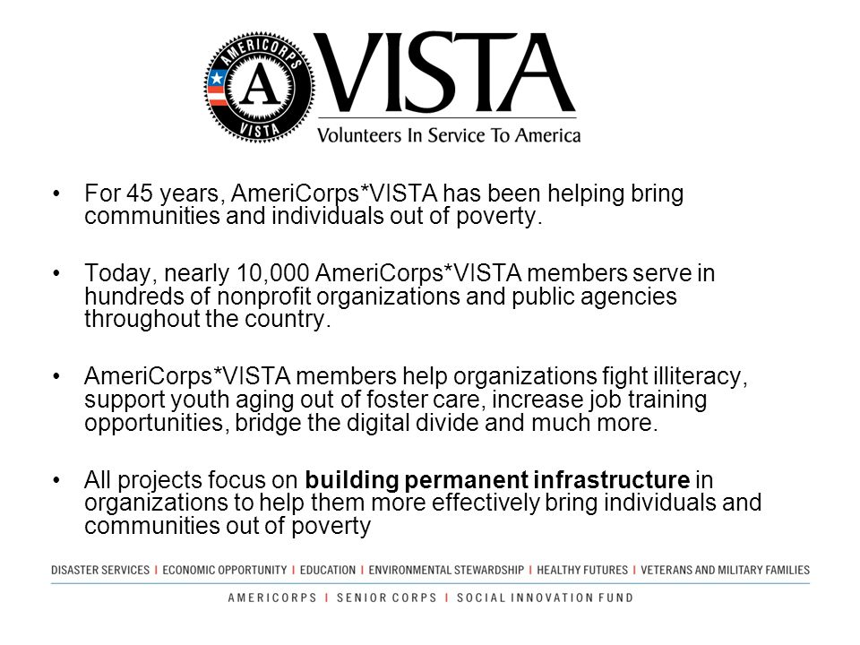 For 45 years, AmeriCorps*VISTA has been helping bring communities and individuals out of poverty. Today, nearly 10,000 AmeriCorps*VISTA members serve