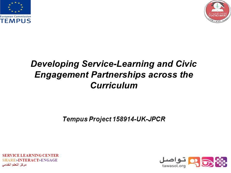 SERVICE LEARNING CENTER SHARE>INTERACT>ENGAGE مركز التعلم الخدمي Developing Service-Learning and Civic Engagement Partnerships across the Curriculum Tempus Project 158914-UK-JPCR