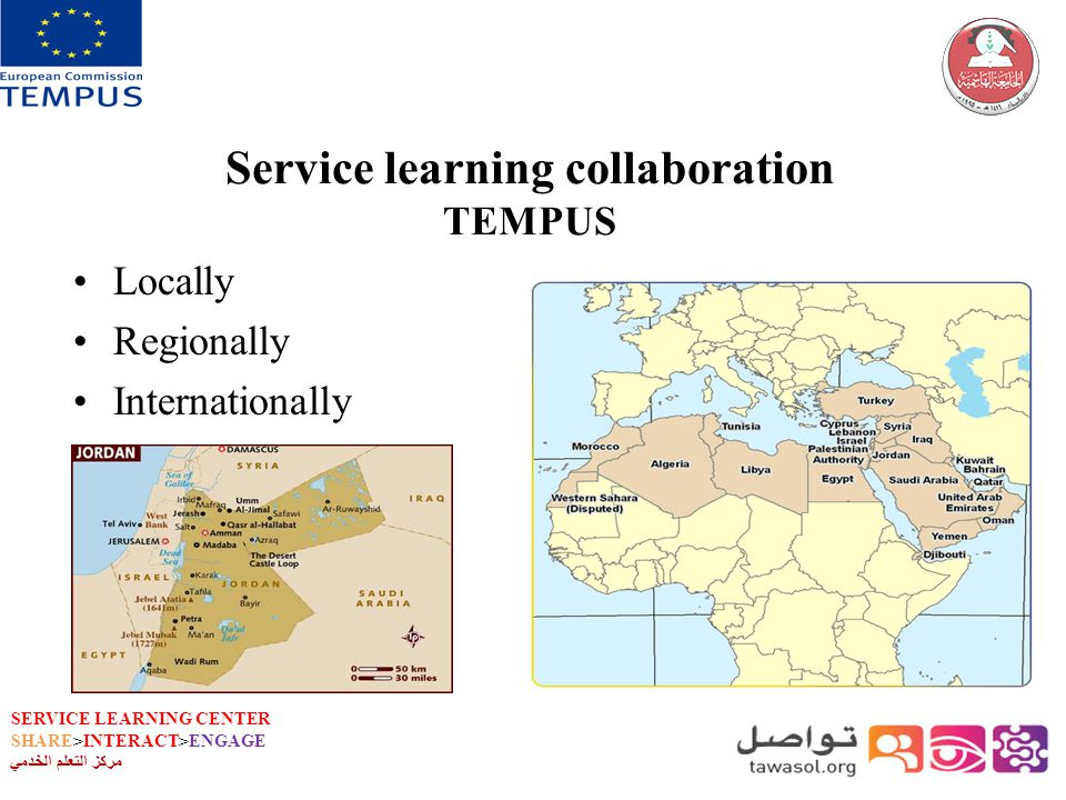 SERVICE LEARNING CENTER SHARE>INTERACT>ENGAGE مركز التعلم الخدمي Service learning collaboration TEMPUS Locally Regionally Internationally