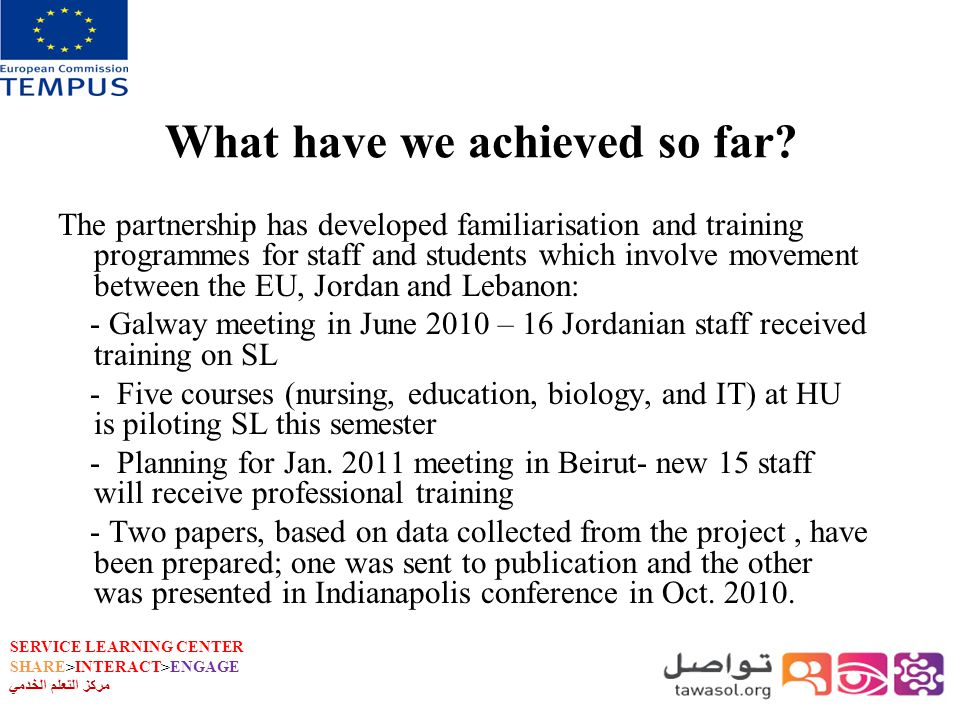 SERVICE LEARNING CENTER SHARE>INTERACT>ENGAGE مركز التعلم الخدمي What have we achieved so far.