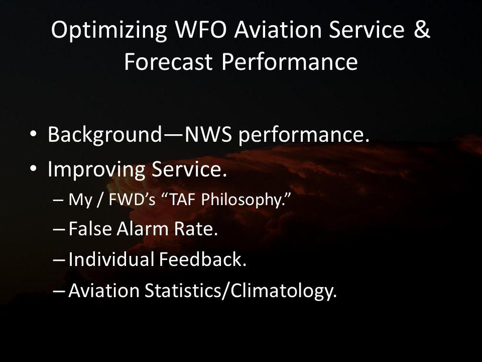 Optimizing WFO Aviation Service & Forecast Performance BackgroundNWS performance.