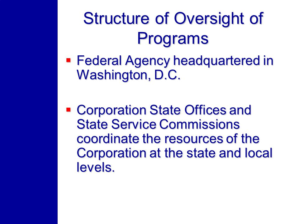 Structure of Oversight of Programs Federal Agency headquartered in Washington, D.C. Federal Agency headquartered in Washington, D.C. Corporation State
