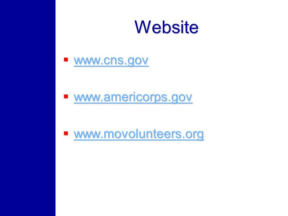 Website www.cns.gov www.cns.gov www.cns.gov www.americorps.gov www.americorps.gov www.americorps.gov www.movolunteers.org www.movolunteers.org www.movolunteers.org