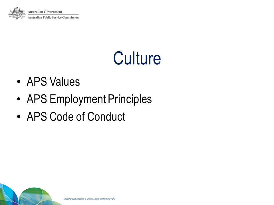 Culture APS Values APS Employment Principles APS Code of Conduct